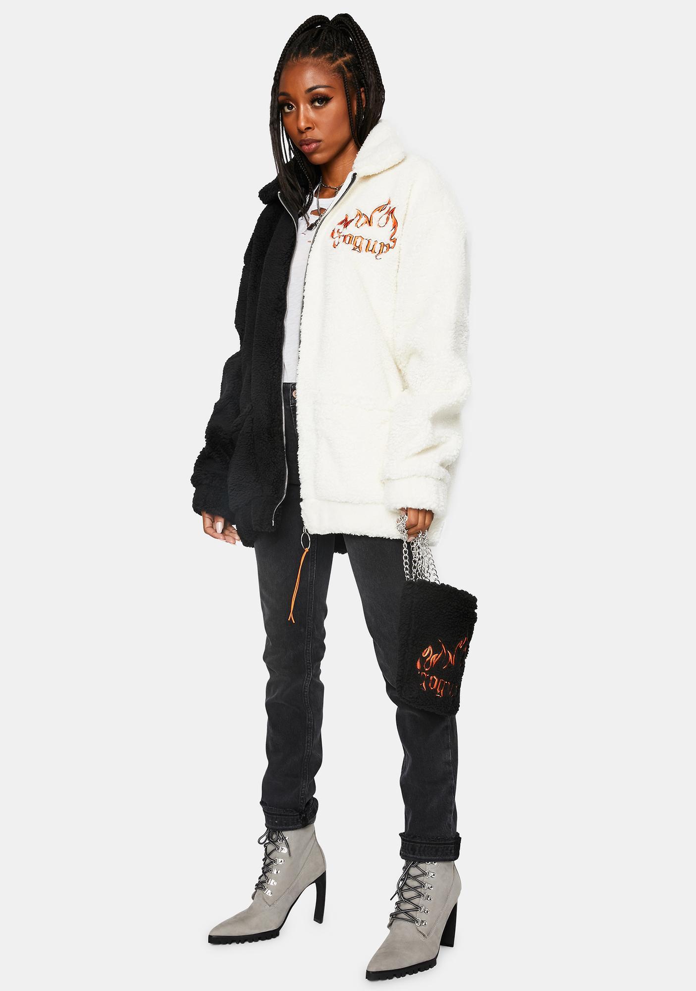 GoGuy Black & White Teddy Jacket And Bag Set