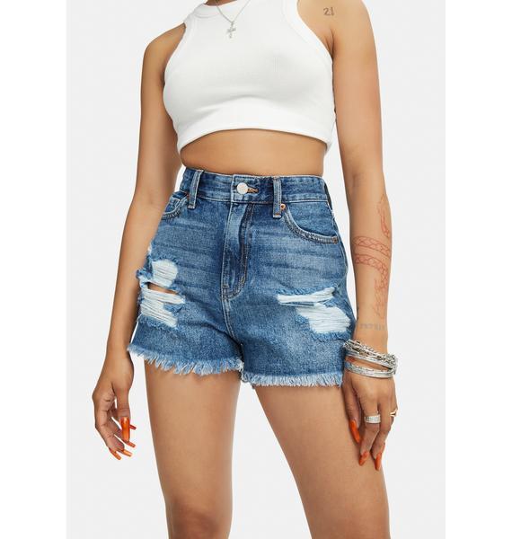 Just Black Denim Mid Rise Distressed Jean Shorts