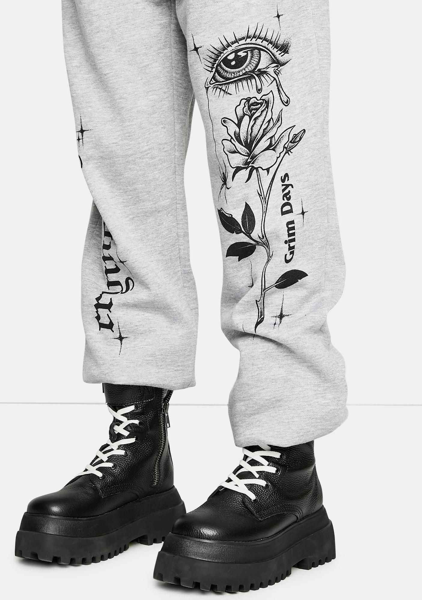 GRIM DAYS Crying Graphic Sweatpants