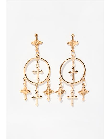 Heavenly Cross Dangle Earrings
