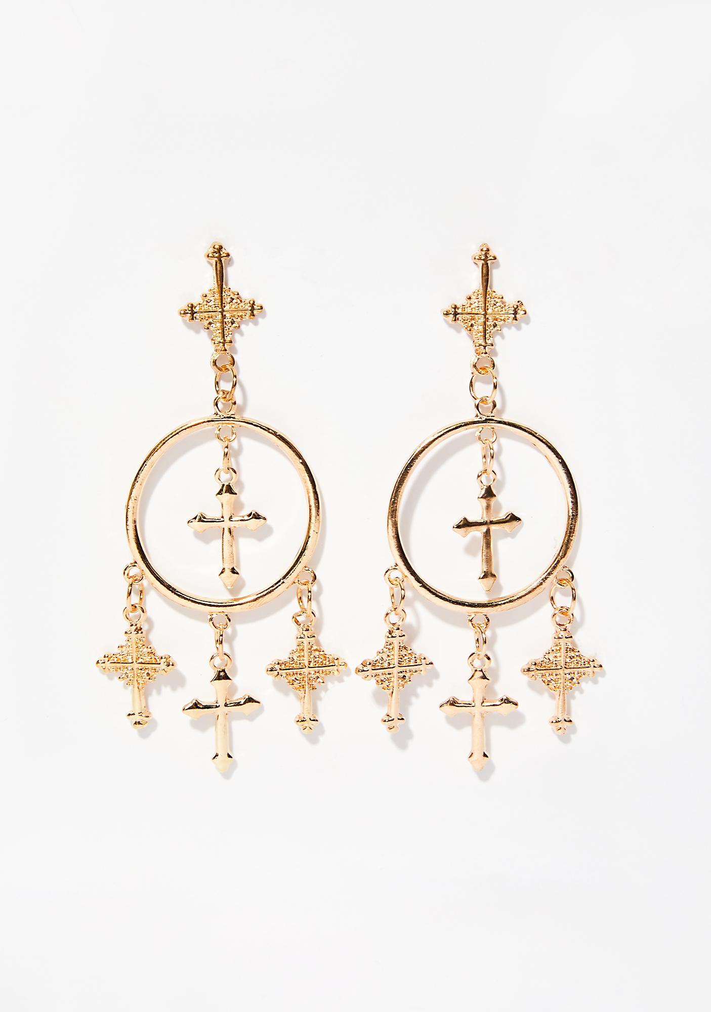 Heavenly Cross Dangle Earrings