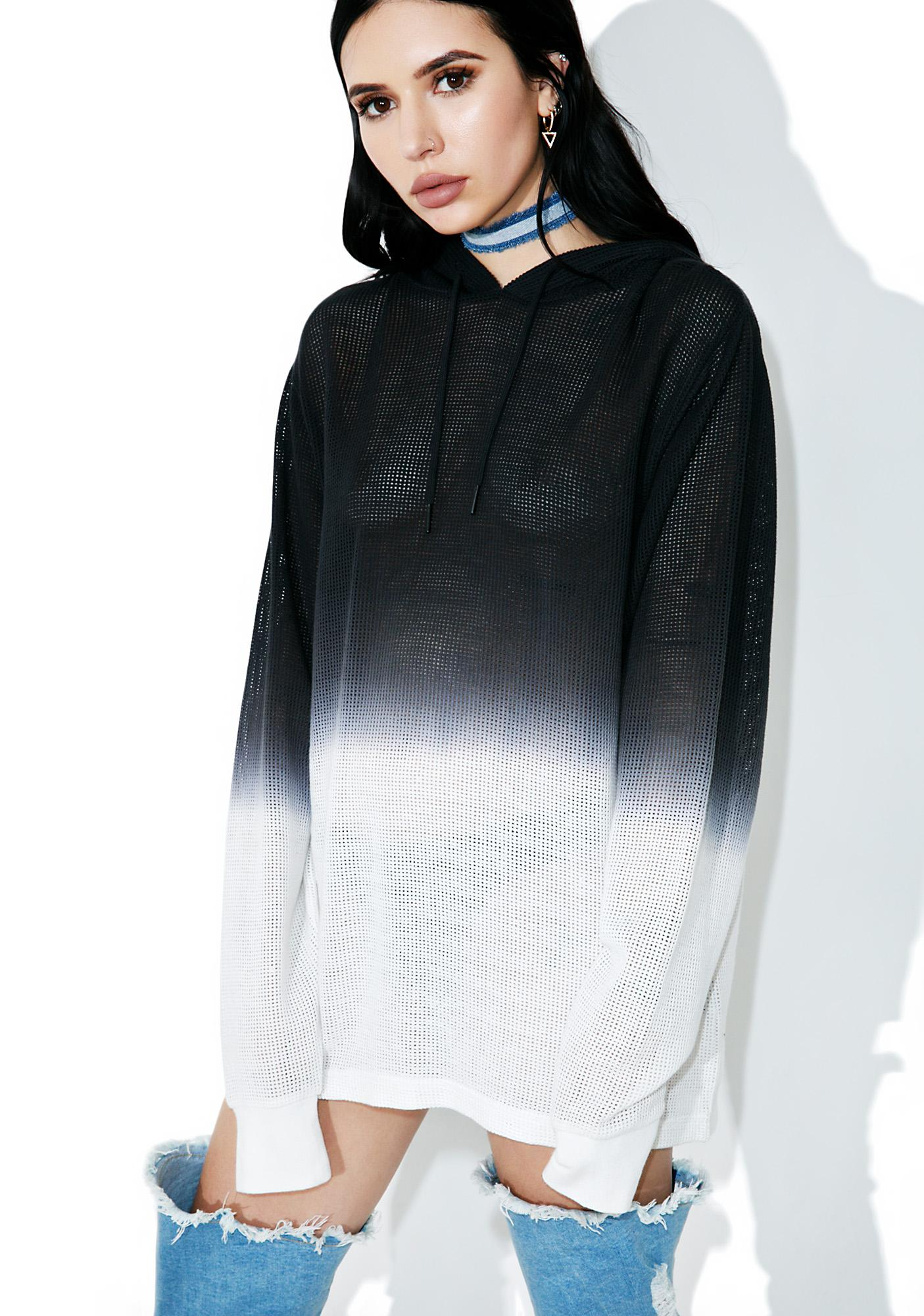 Black Scale Mesh Pullover Hoody