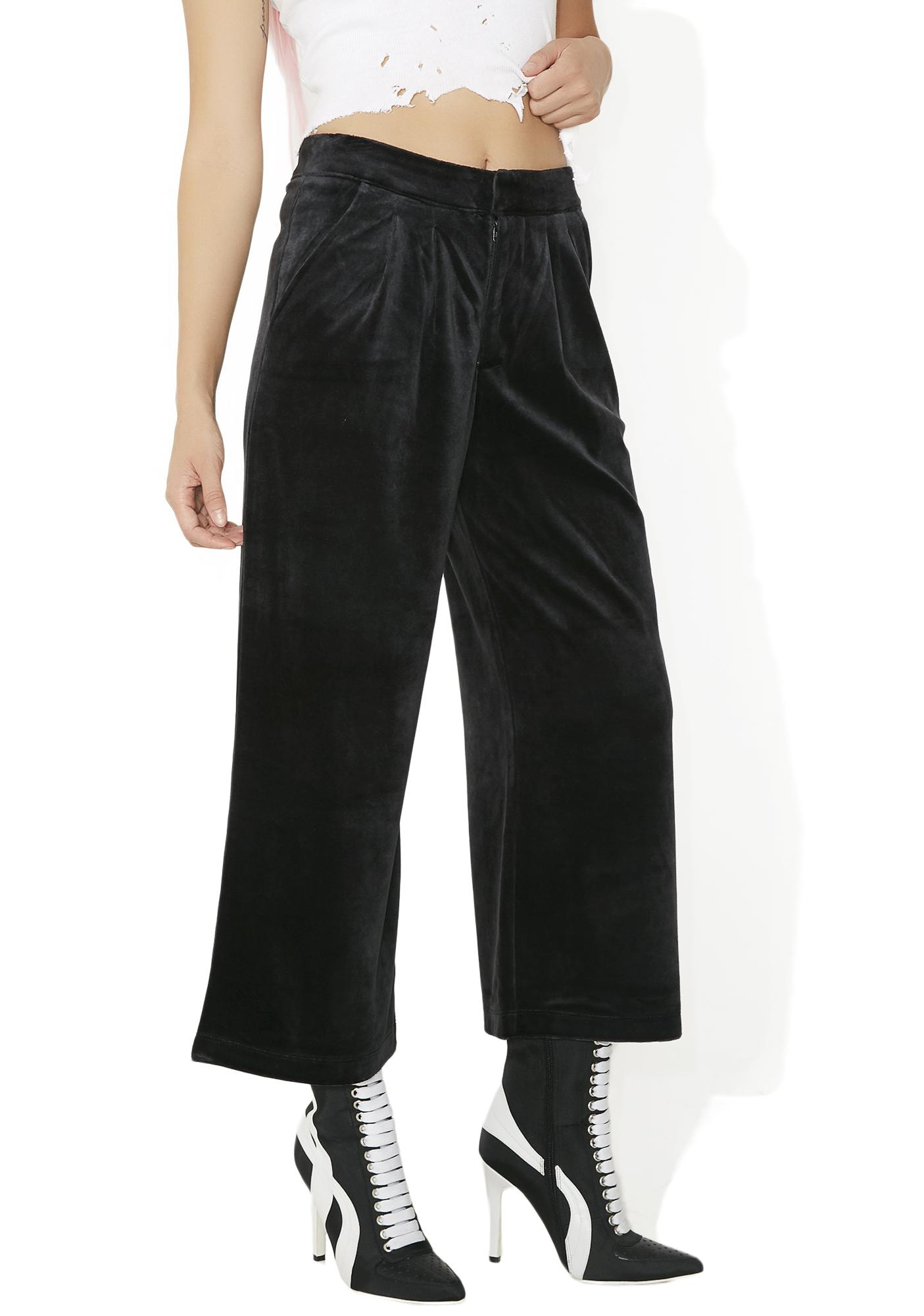 JUICY COUTURE Sporty Velour Wide Leg Trousers