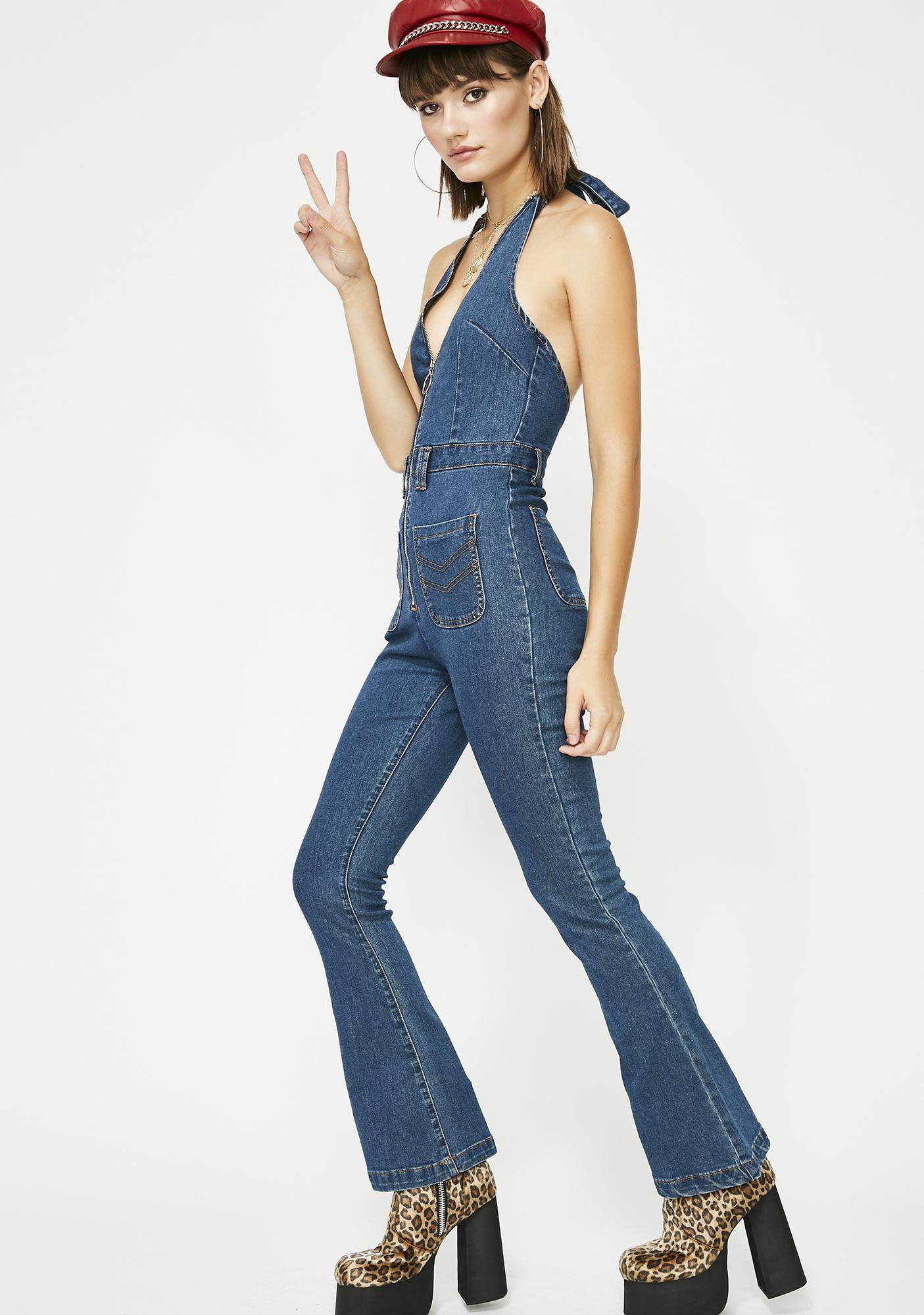 c423c856b Denim Halter Flare Zip Jumpsuit | Dolls Kill