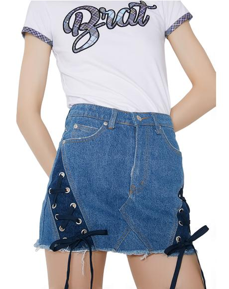 Saturday School Denim Mini Skirt
