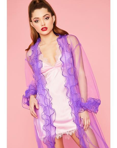 Lavender Pretty Climax Ruffle Trim Robe