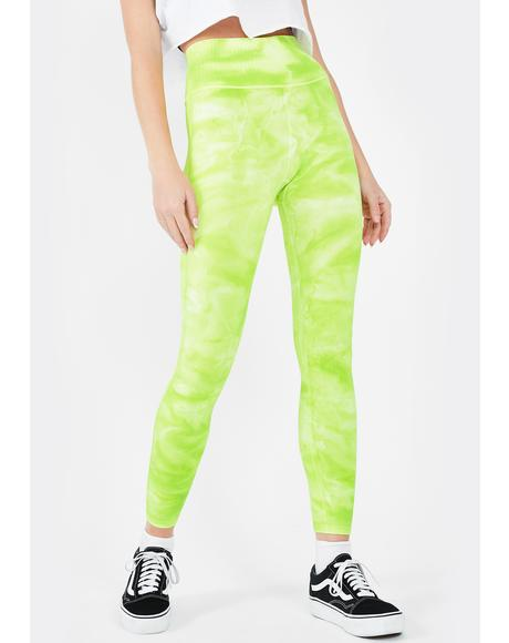 Green Good Karma Tie Dye Leggings