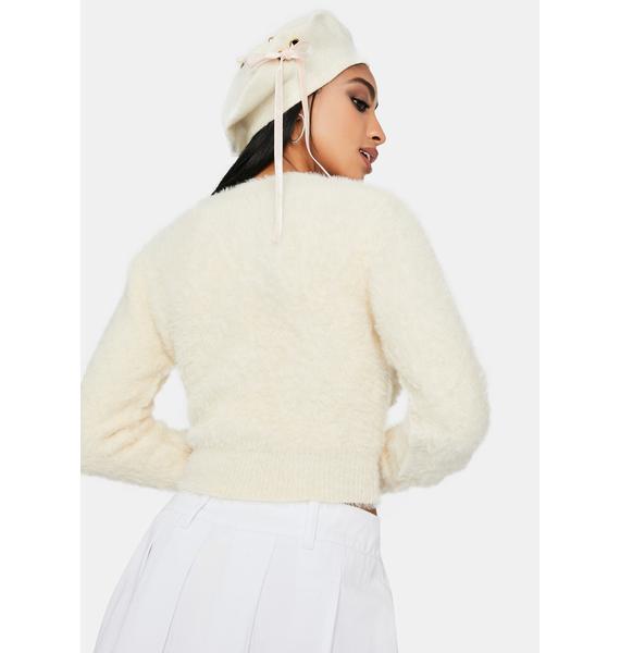 Cream Cutest Thing Fuzzy Crop Cardigan