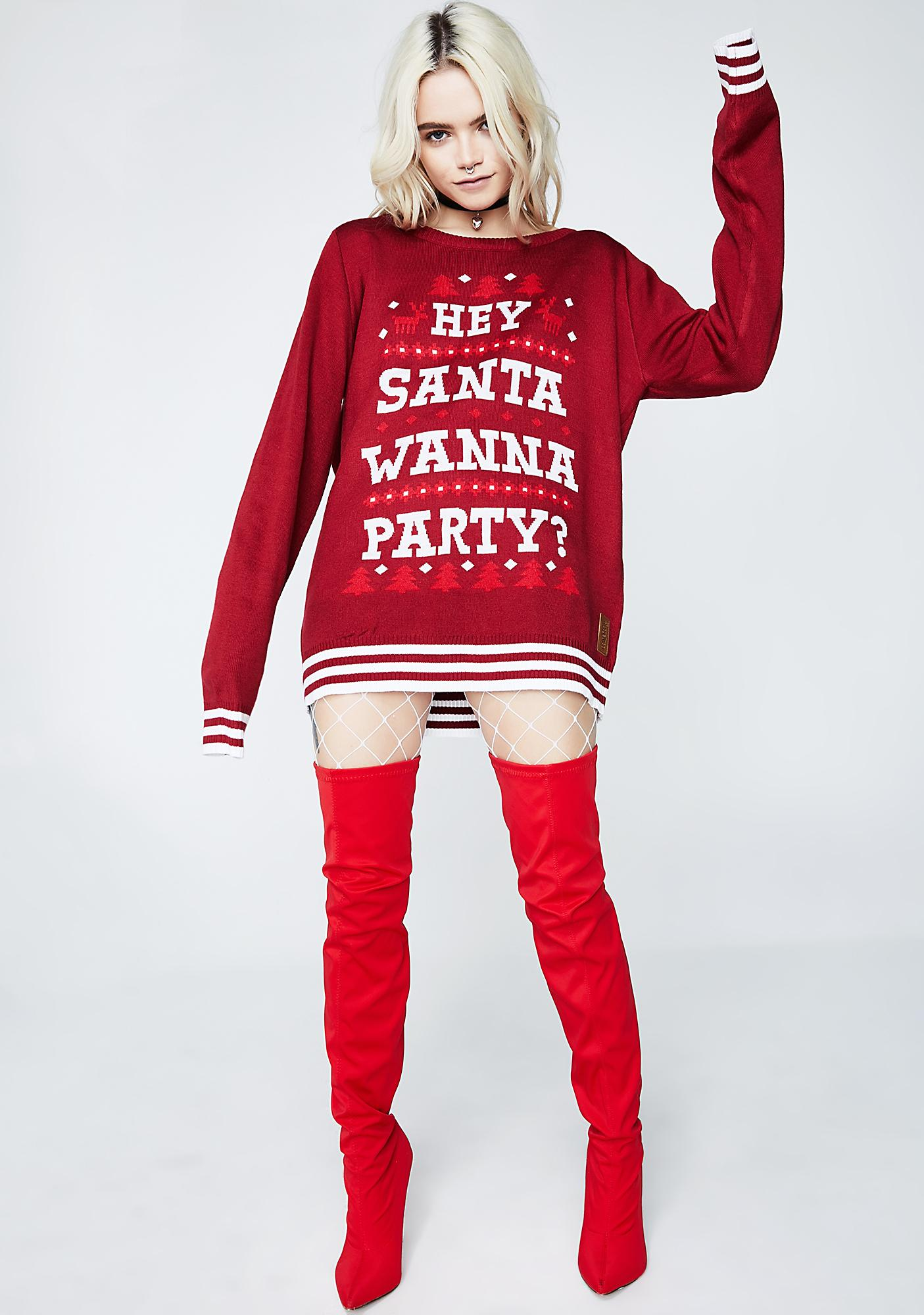 Tipsy Elves Hey Santa Wanna Party Sweater