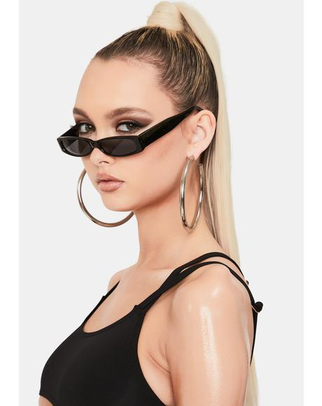 Black Slim Tiny Sunglasses
