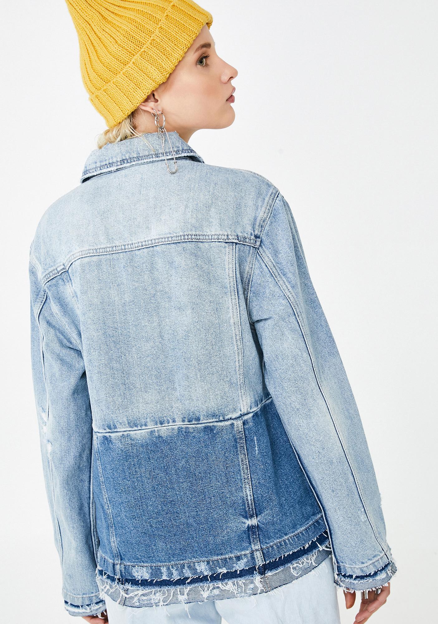 Hidden Denim Light Wash Two Toned Frayed Jacket