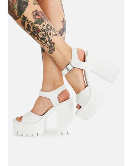 White Jalila Platform Heels
