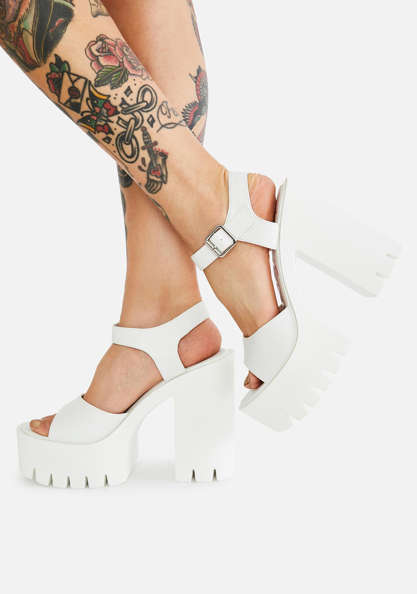 Buffalo White Jalila Platform Heels