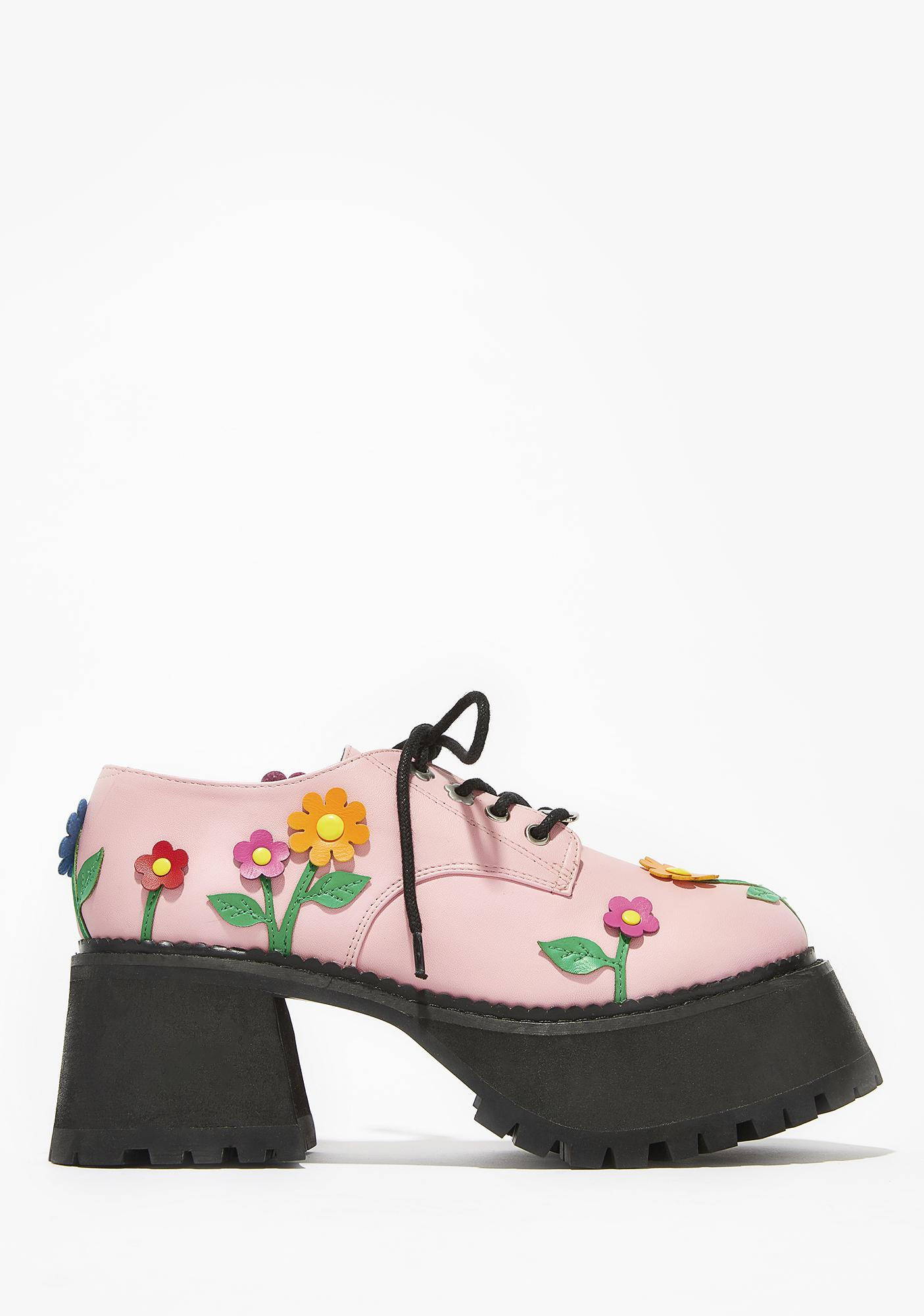dELiA*s by Dolls Kill Blossoming Baby Lace-Up Platforms