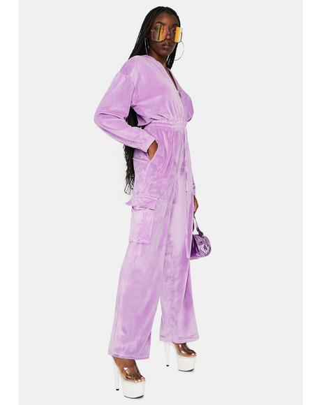 Frightfully Delightful Velour Jumpsuit