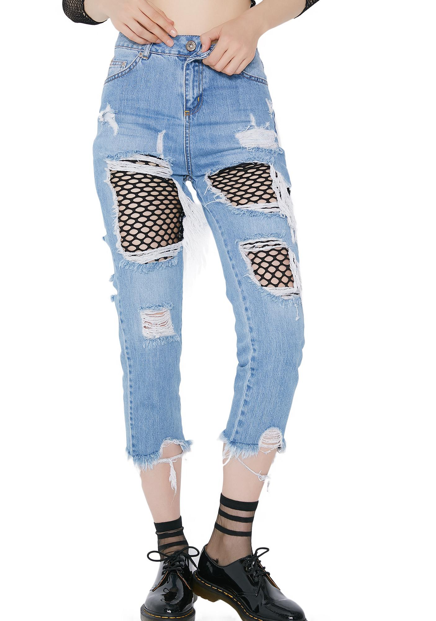 Kiki Riki Freaky Friday Patched Fishnet Jeans