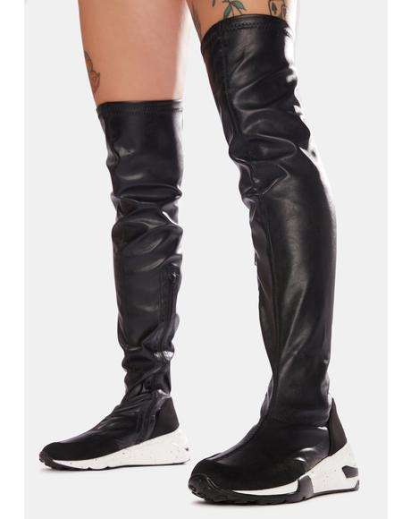 Street Trip Knee High Sneaker Boots