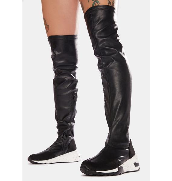 Street Trip Knee High Sneaker Boots