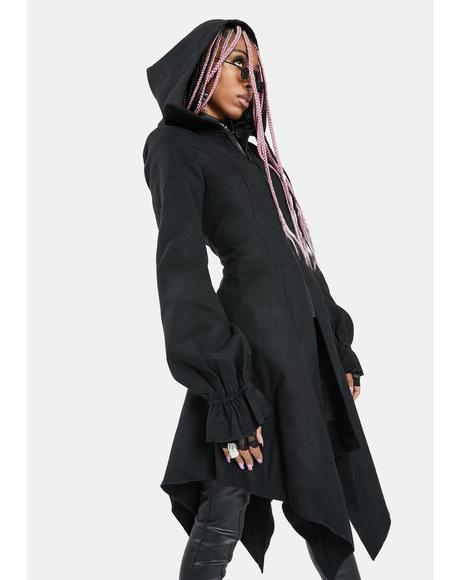 Irregular Hem Hooded Coat