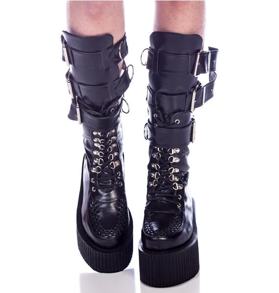 Demonia 3-Buckle Calf Creeper Boots