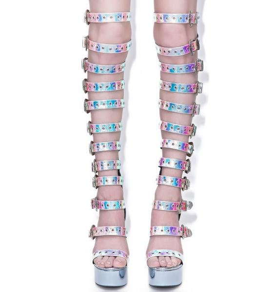 Current Mood Hologram Western Bondage Bitch Heels