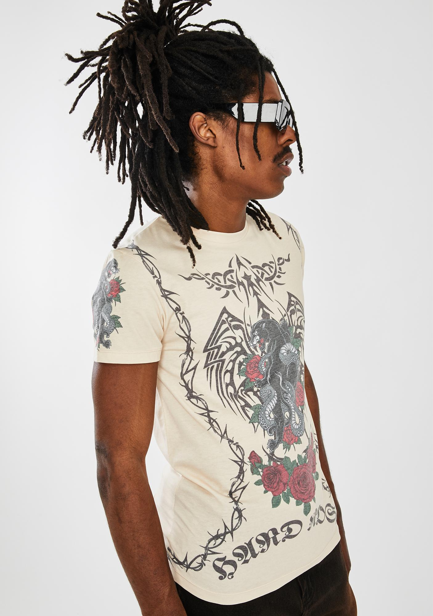 Jaded London Beige Tattoo Graphic Tee