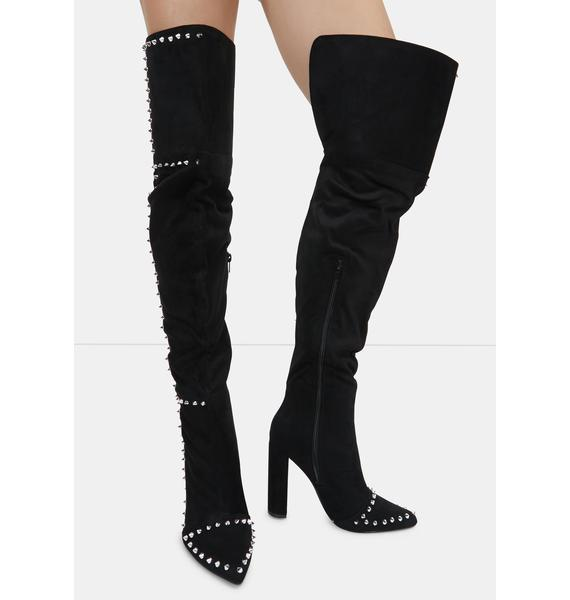 Out Of My Way Studded Over The Knee Boots