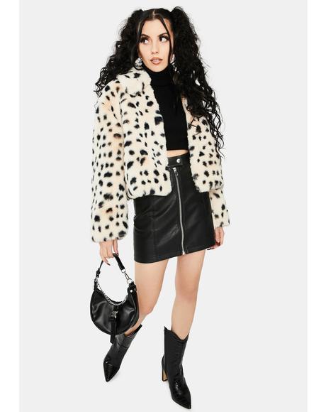 Snow Leopard Faux Fur Bomber