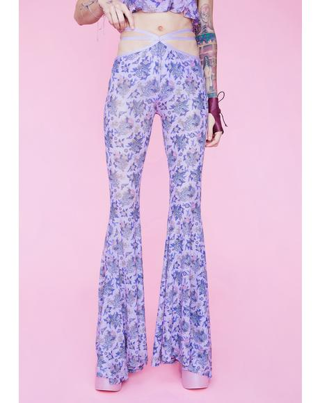 Are We Human Dragon Print Bell Bottoms