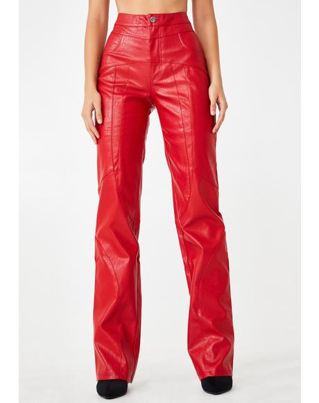 Red York Faux Leather Pants