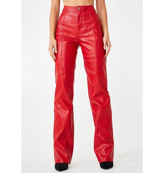 I AM GIA Red York Faux Leather Pants