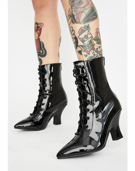 Patent Victoria Lace Up Boots