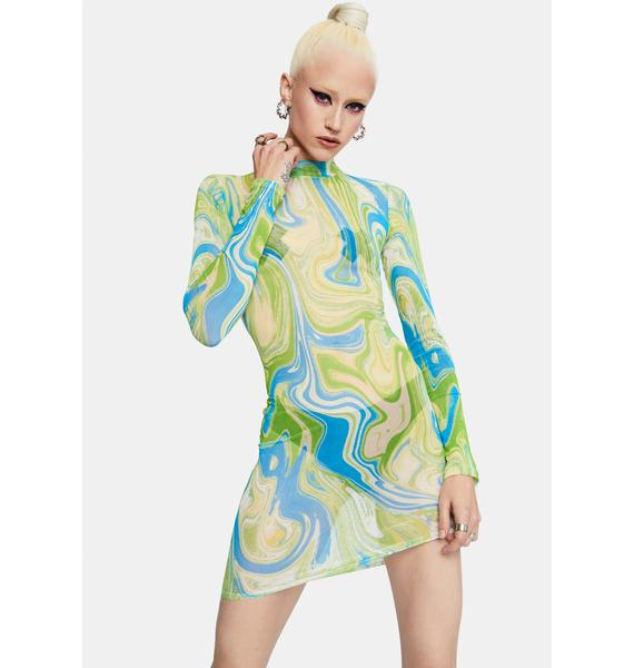 Hypnotic Waves Mesh Bodycon Dress