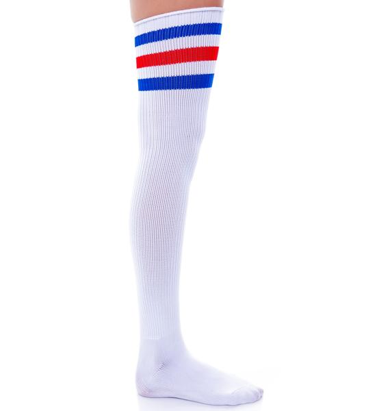 On Track Striped Knee Socks