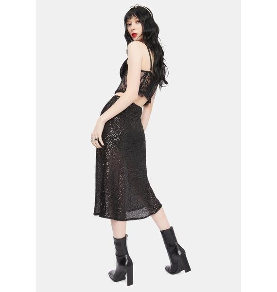 Shimmering Midnight Sequin Midi Skirt
