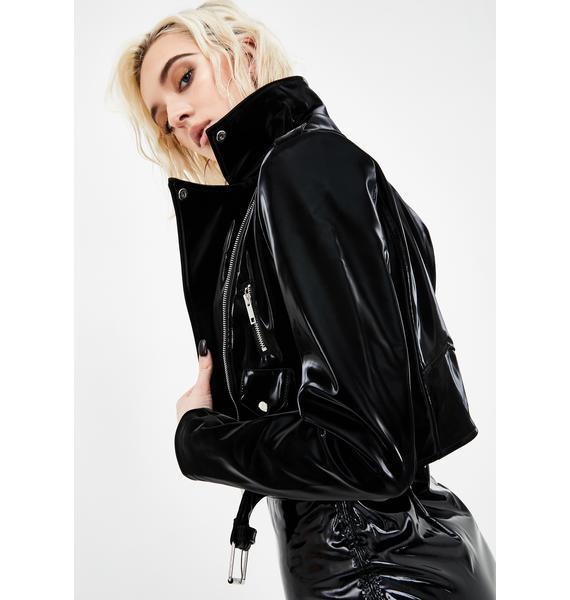 AZALEA WANG Diamond In The Ruff Latex Moto Jacket