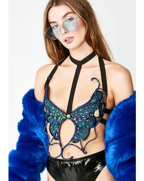 Midnight Mariposa Bra Top
