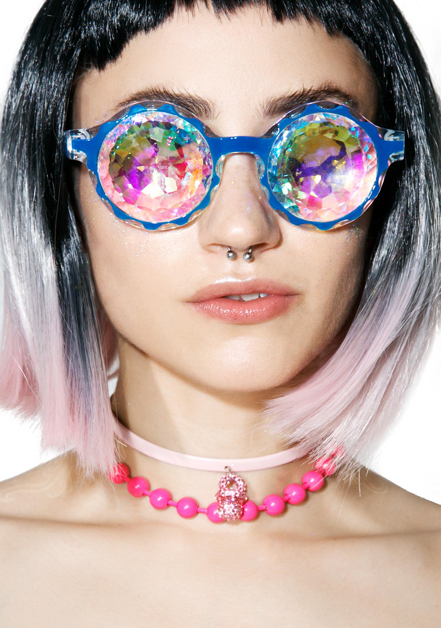 GloFx Crown Blue Kaleidoscope Glasses