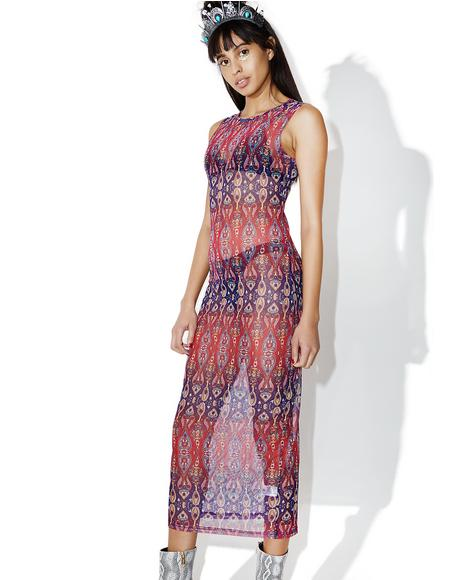 Hippie Hill Sheer Printed Dress
