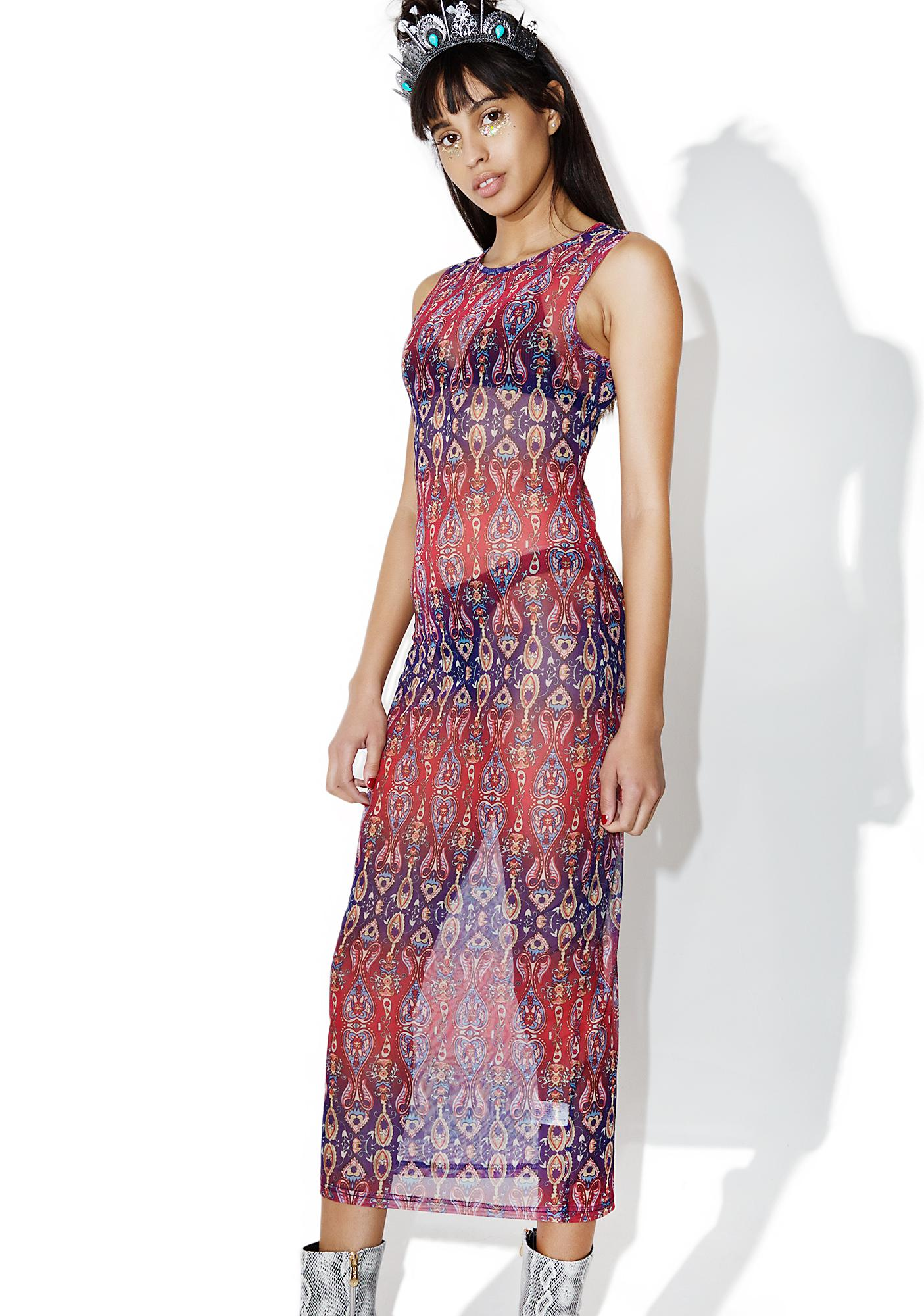 As I Am Hippie Hill Sheer Printed Dress