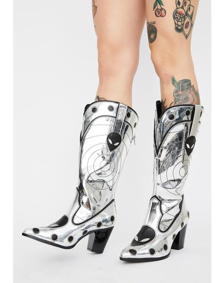 UFO Chrome Space Cowgirl Metallic Boots