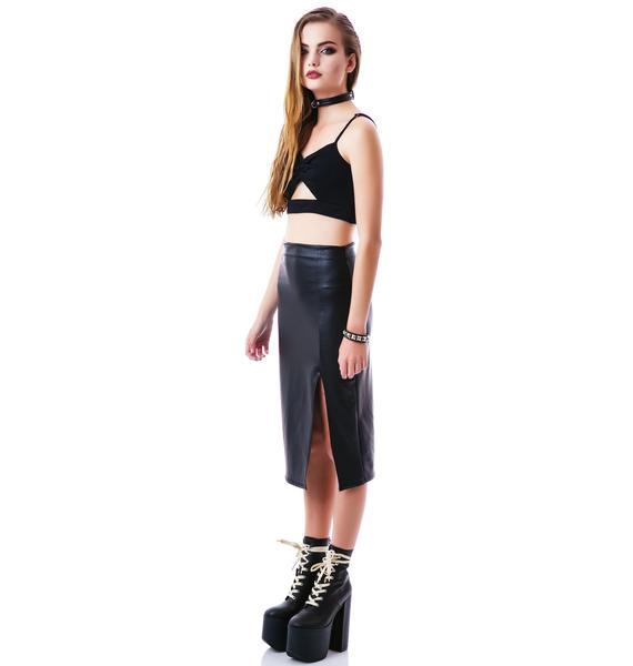 Pleaser Pleather Slit Skirt