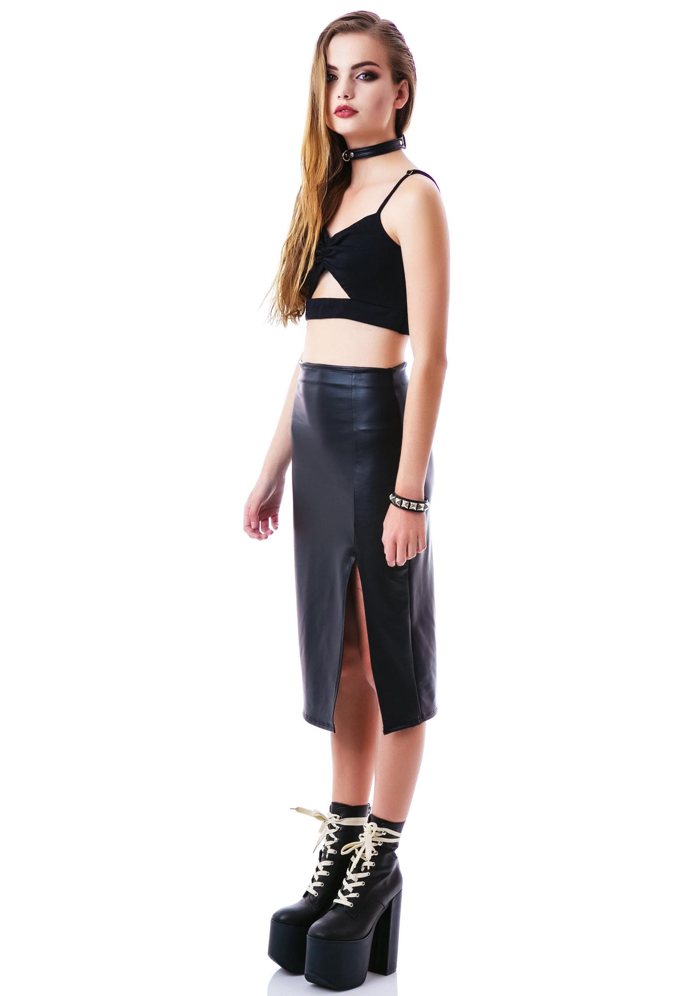 Pleaser Pleather Slit Skirt