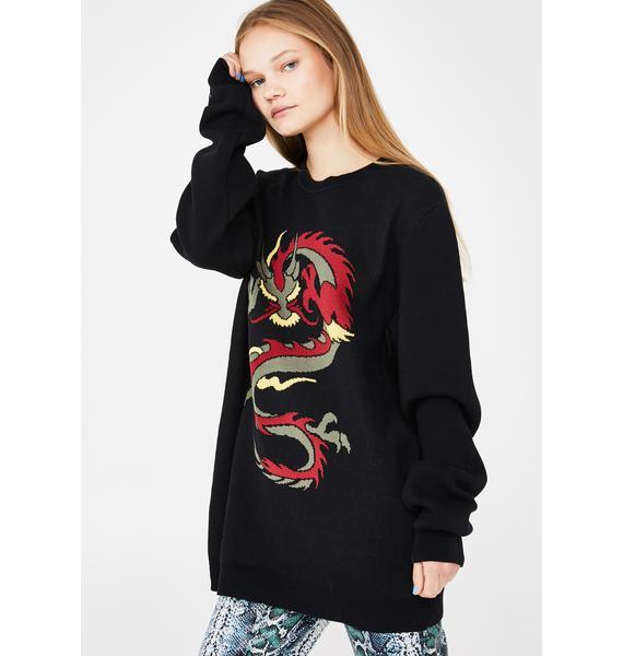 dELiA*s by Dolls Kill Fire Quest Dragon Sweater