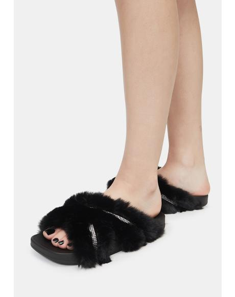 Doing Too Much Faux Fur Slide Sandals