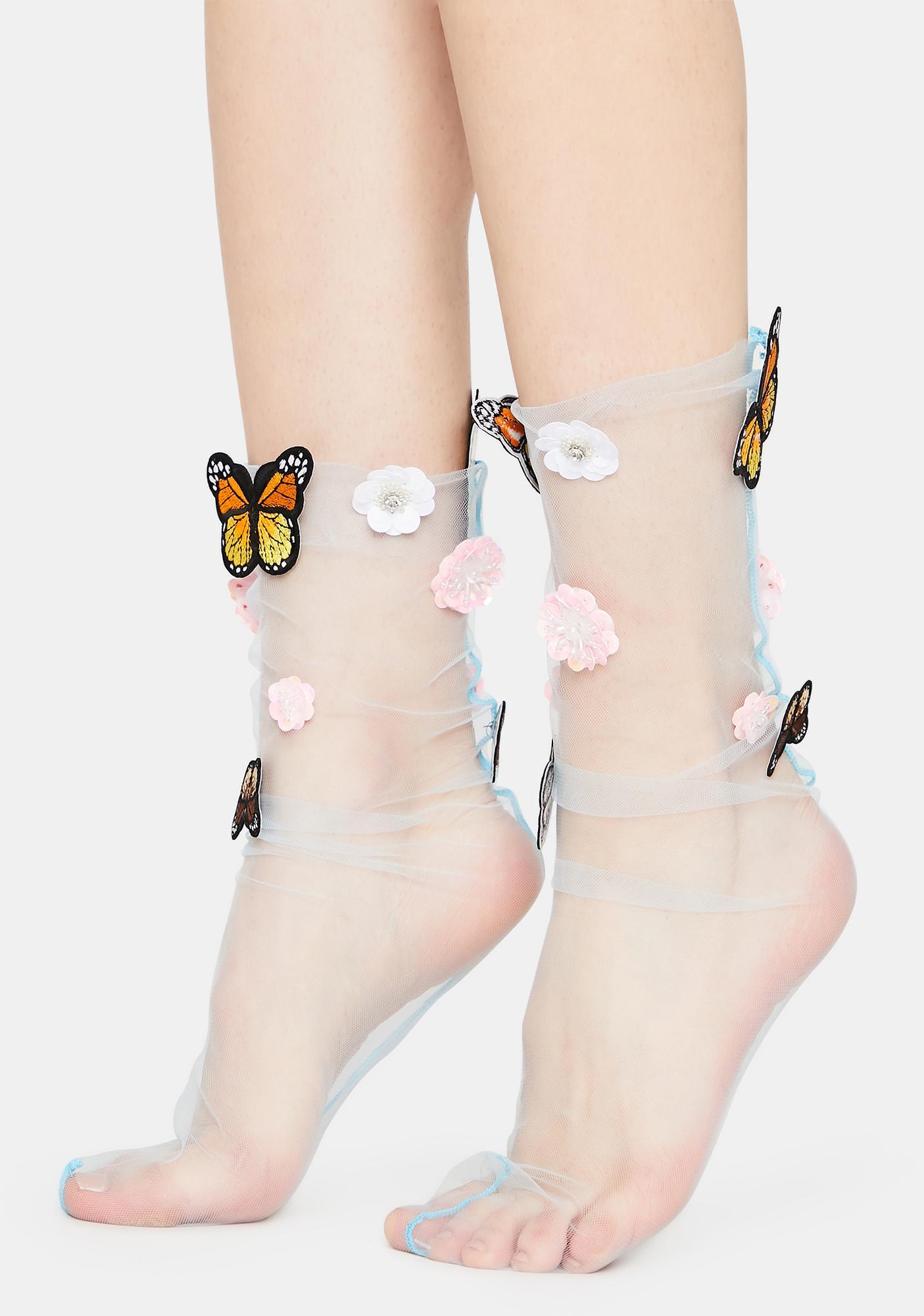 Hidden Garden Sheer Butterfly Socks