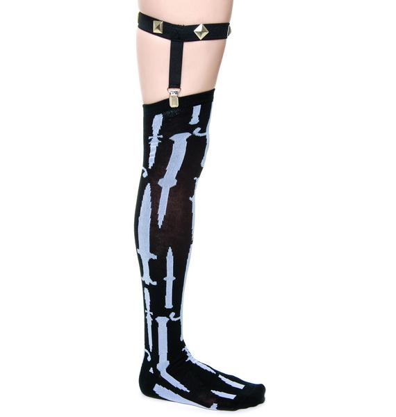 Too Fast Knives Garter Socks