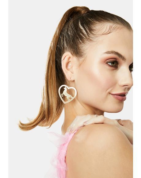 Mystical Unicorn Drop Earrings