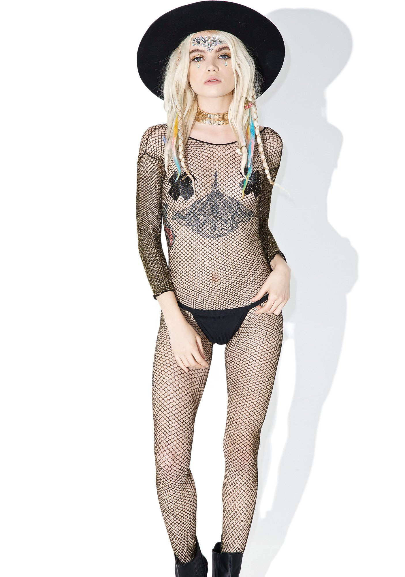 Gold Digger Fishnet Bodystocking