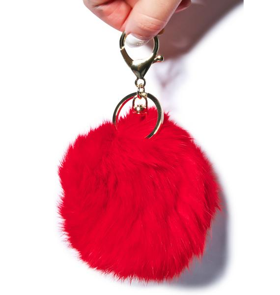 Clueless Red Fluffy Pom Keychain
